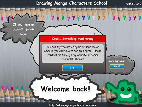 Drawing Manga Characters School Error Screenshot